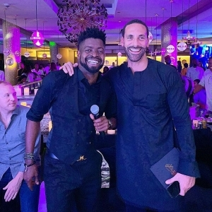 Basketmouth All Smiles As He Is Pictured With Football Legend, Rio Ferdinand
